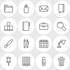 Vector Illustration Of 16 Tools Icons. Editable Pack Of Zoom, Adhesive, Date And Other Elements.