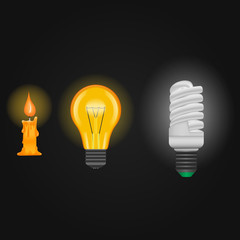 Candle, incandescent lamp, energy saving lamp . Lighting vector illustration
