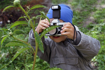 A little boy is taking pictures of a white dandelion. Babe irers in the photographer in role-playing games of great importance in the development of children. A young photographer takes a flower.