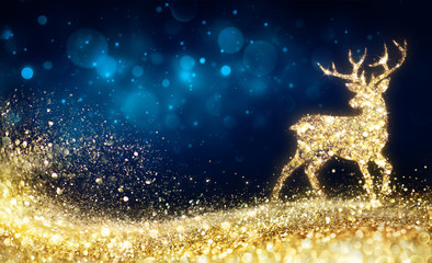 Christmas  - Golden Reindeer In Abstract Night