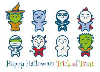 kids in Halloween monsters costumes.