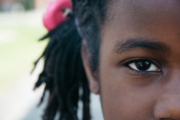 Closeup of an African American girl's eye