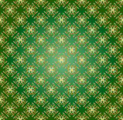 seamless vector pattern in gold color on a dark green background