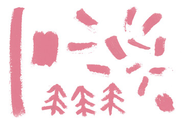 Pink sign of spruce with natural raw grunge lipstick texture