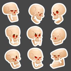 Skull bones human face halloween horror crossbones fear scary vector illustration isolated on background.