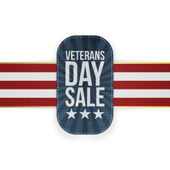 Veterans Day Sale blue Badge with striped Ribbon