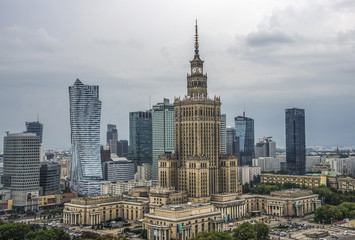 Warsaw, Poland. Aerial view Palace of Culture and Science and downtown business skyscrapers, city...