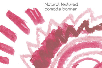 Natural pomade art design elements with curves, lines, abstract textured shapes for creating of banners and labels of cosmetic.