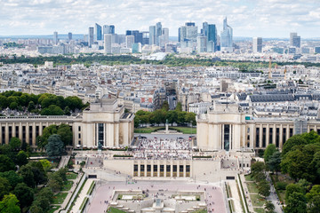 Aerial view of Trocadero and the Palais de Chaillot in central Paris