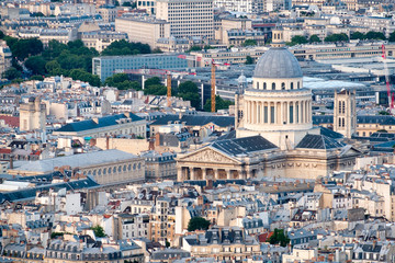 Aerial view of central Paris including The Pantheon