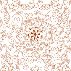 Floral mehendi pattern ornament vector illustration hand drawn henna pattern india tribal paisley background