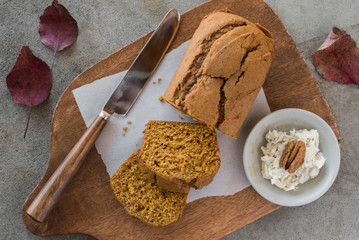 Pumpkin Bread with honey walnut butter