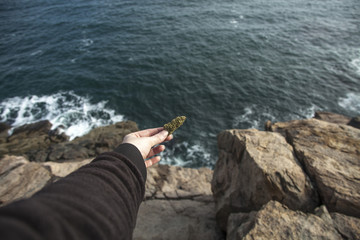 Cannabis meets the ocean, relaxing outdoors with cannabis.