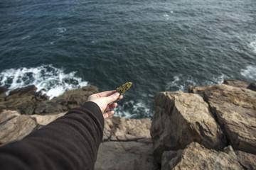 Woman's hand holding cannabis bud against ocean