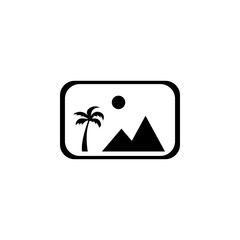 picture icon with mountains and sun line icon