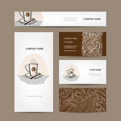 Business cards design with coffee cup
