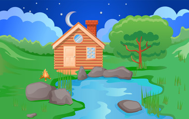 Small wooden cabin at night vector image