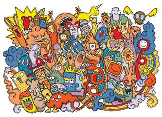 Vector illustration of Doodle ugly  Monster background ,Hand drawing Doodle