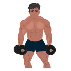 bodybuilder with dumbbells, fitness, sport, vector illustration
