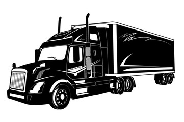 icon of truck, semi truck, vector illustration