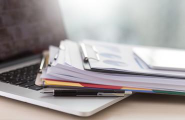 Obraz Businessman working reading documents graph financial to job succes Analyze document plans - fototapety do salonu