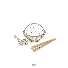 food object rice hand drawing