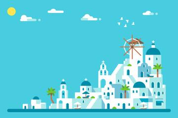 Poster Turquoise Flat design Santorini island village