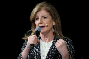 Founder and CEO of Thrive Global Arianna Huffington speaks at the Wall Street Journal Digital conference in Laguna Beach
