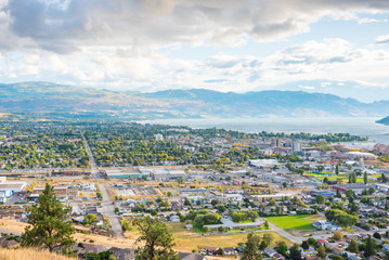 View of city of Kelowna and Okanagan Lake from Knox Mountain viewpoint autumn