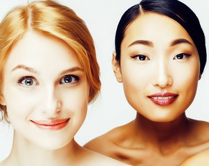 different woman: asian, caucasian together isolated on white background happy smiling, diverse type of skin, lifestyle people concept