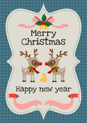Merry Christmas and happy new year vector greeting card.