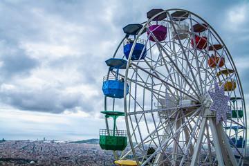 The Ferris wheel from the Tibidabo mountain, Barcelona, Spain
