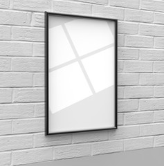 Blank Frames For Posters, Pictures, Arts, Drawings, Scenery And Print Templates, Mock Up Template On Wall Background. 3d render illustration.
