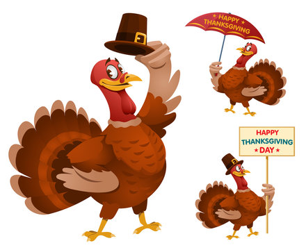 Happy Thanksgiving Day with funny cartoon turkeys. Cartoon styled vector illustration. Elements is grouped. No transparent objects. Isolated on white.