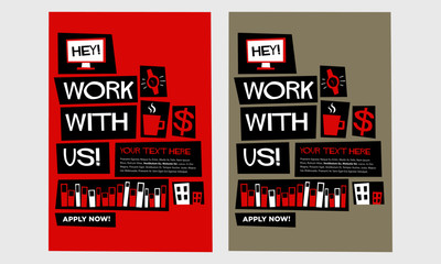 Work With Us! (Flat Style Vector Illustration Recruitment Poster Design) With Text Box Template