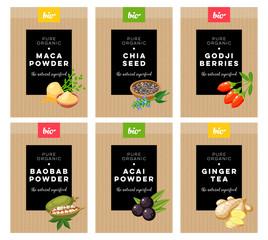 Packaging design. Concept label for natural superfood marketing . Maca, chia, godji, baobab, acai, ginger. Vector flat template.