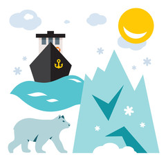 Vector North Pole. Flat style colorful Cartoon illustration.