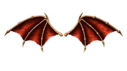 3d Illustration Devil Wings, Demon Wing Plumage Isolated on White Background