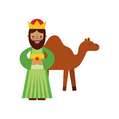cartoon wise king with camel manger characters