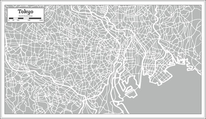 Tokyo Map in Retro Style. Hand Drawn.