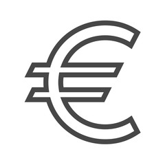 Euro Sign Thin Line Vector Icon