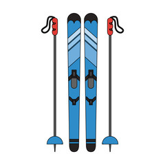 skis with poles  winter sports related icon image vector illustration design