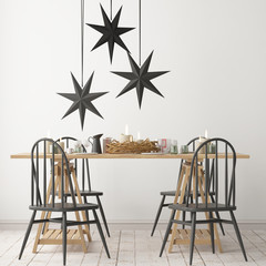 Christmas interior, decorated in Scandinavian style. 3d rendering. 3d illustration