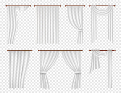 Vector realistic white window curtains and drapes set.