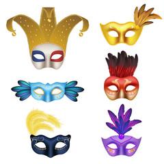 Vector realistic carnival or masquerade mask icon set