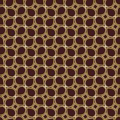 Seamless vector ornament. Modern brown and golden background. Geometric modern pattern