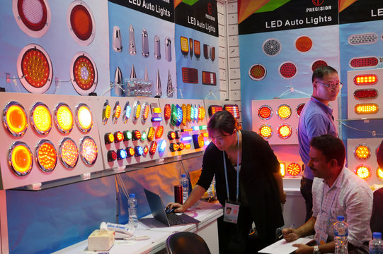 LED lights are on display inside a booth at the Canton Fair in Guangzhou