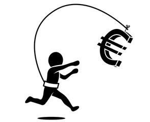Ein Mann läuft dem Geld nach | 3D-Eurozeichen | Icon, schwarz-weiß, Vektor, freigestellt