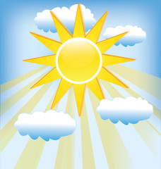 Sun rays cloudy blue sky background template