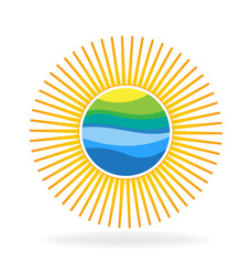 Sun with beach reflection logo vector
